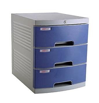 Armarios de archivo cerrados plástico archivadores escritorio Gabinetes cajón grande acabado armario, color azul: Amazon.es: Oficina y papelería