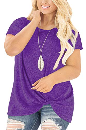 Lucky Plus Size T-shirt - Womens Plus Size Tops Summer Casual Knotted Tunics Solid Blouses Purple-16W