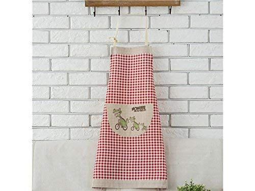 (JingBeiD Home Printed Apron with Pocket Personalized Red Lattice Cartoon Monster(Red))