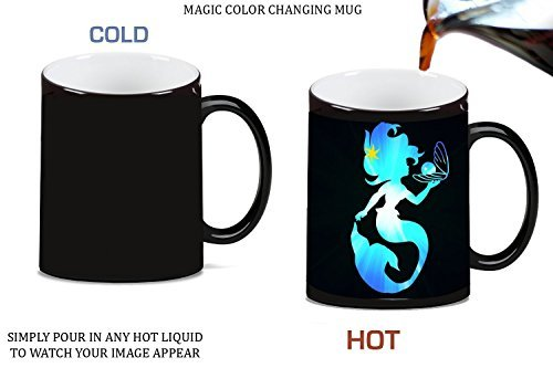 The Little Mermaid Holding Pearl Blue Silhouette Design Print Image Pattern Magic Color Changing Ceramic Coffee Mug Tea Cup by Trendy ()