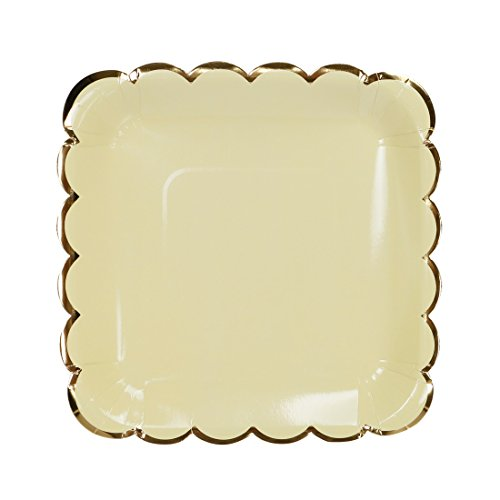Geeklife Gold Paper Plates,9 inch Square Paper Party Plates,20 Pcs Decorative Tableware for Birthday Parties, Baby Showers, Grad Parties, Weddings, and Life Celebrations