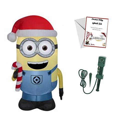 Minion Christmas Inflatable Dave with Candy Cane 42 in. Outdoor Bundle - Timer 3 Outlet Stake ()