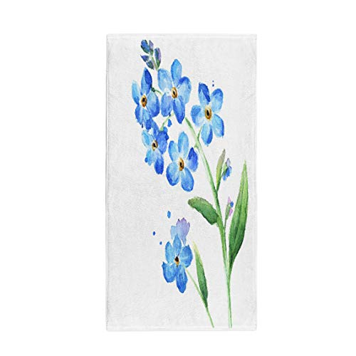 (Semtomn 30 x 60 Inches Bath Towel Blossom Blue Wild Flowers Watercolor Branch Delicate Painting Arrangement Soft Absorbent Travel Guest Decor Hand Towels Washcloth for Bathroom(One Side Printing))