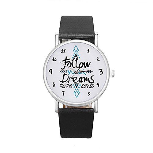 - Colorido Girls Follow Your Dream Print Faux Leather Band Quartz Wrist Watch (Black)