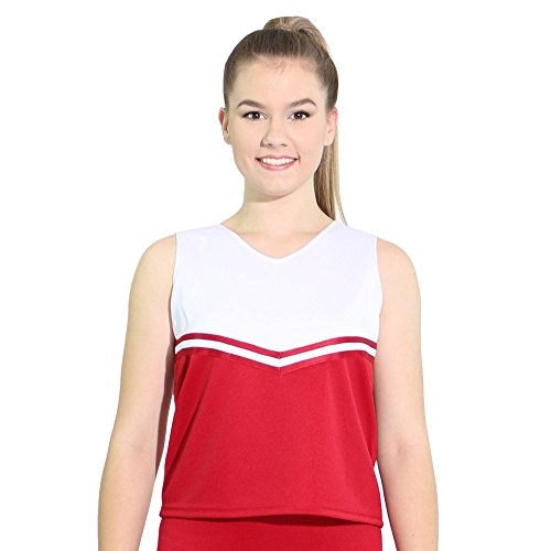 Danzcue Womens V-Neck Cheerleaders Uniform Shell Top, Scarlet/White, Medium