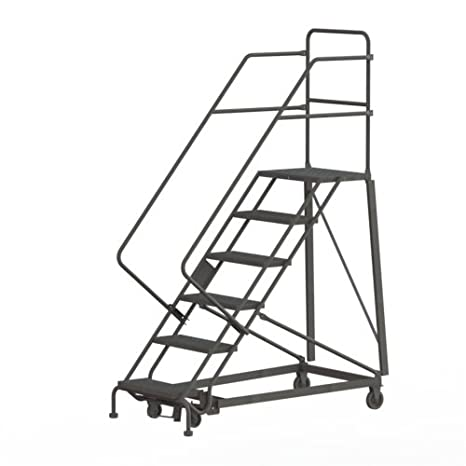 tri-arc kdhs106242 Heavy-duty en 6 seguridad ángulo Rolling de acero Industrial y almacén escalera con viga de Grip Tread: Amazon.es: Industria, empresas y ciencia
