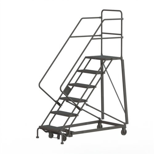 Step Rolling Safety Ladder - Tri-Arc KDHS106242 6-Step Heavy-Duty Safety Angle Steel Rolling Industrial & Warehouse Ladder with Grip Strut Tread