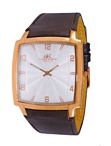 Mens Swiss Stainless Steel & Leather Watch by Adee Kaye-Rose tone