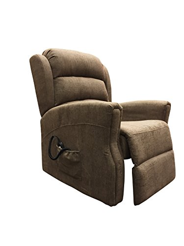 M Brand Fabric Electric Dual Motor Power Riser Recliner Armchair Sofa Chair Chocolate