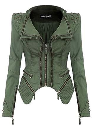 Lookbookstore Sharp Studded Notched Denim Jeans Coat Blazer Jacket Green US 0 - US 2