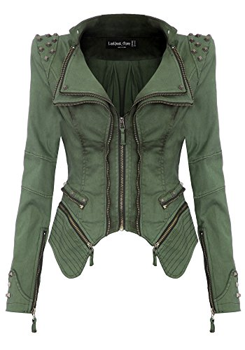 Womens Denim Jeans Jacket Blazer - Lookbook Store Sharp Studded Notched Denim Jeans Coat Blazer Jacket Green US 14