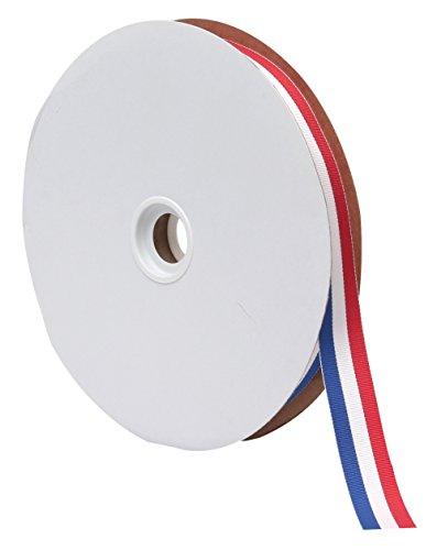 Berwick Offray Tri-Stripe Grosgrain Patriotic Ribbon, 7/8