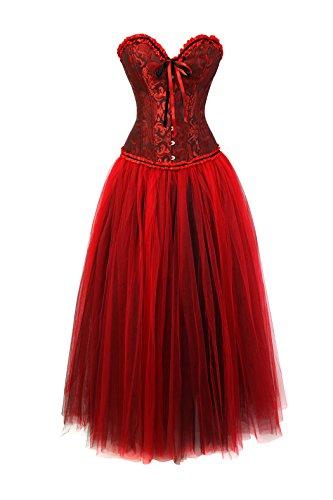 Women's Gothic Vintage Corset Skirt Set Moulin Rouge Dancer Fancy Clubwear Negro rojo-rojo