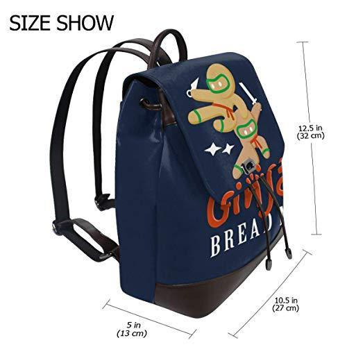 - Christmas Gingas Gingerbread Men Fashion Design Leather Backpack For Women Men College School Bookbag Weekend Travel Daypack