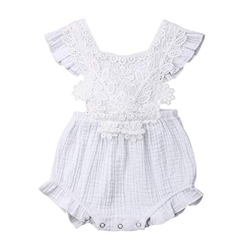 Baby Girl Summer Rompers Newborn Baby Girl Lace Floral Romper Sleeveless Clothes Outfits Cotton Infant Jumpsuit Floral Costume,White,6M -