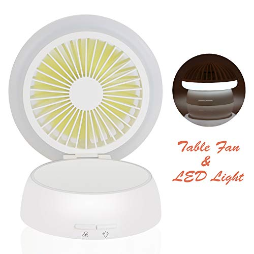 Kids Desktop - Mini Desktop/Table Fan with Night Light, Portable Strong Wind Desk Cooling Fan with LED Light for Office Home Kids Baby's Room Bedroom - White