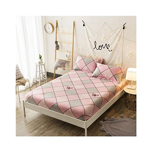 Oasrs 160X200cm 100% Cotton Girls Fitted Sheet Bed Sheet Linen Cover Elastic Sheet,Fitted Sheet 5,140cmX200cm 3Pcs