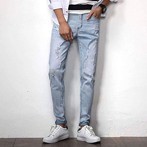 Blu R Denim Libero Strappi Uomo Jeans Usedlook In Elasticizzati Con Whiteblau Azzurro Il Pantaloni Especial Hren Moda Estilo Da Per Tempo IqO4wS1xU