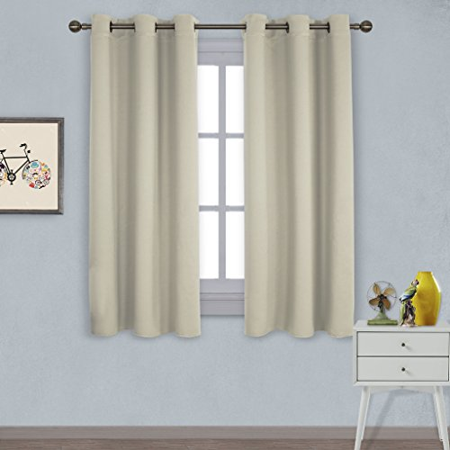 Nicetown Triple Weave Home Decoration Thermal Insulated Solid Ring Top Blackout Curtains / Drapes for Bedroom(