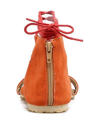 Ouverture Couleur Matière D'orteil Orange Unie Femme Mélangee AalarDom TSFLG004712 Lacet Sandales wCSYqx