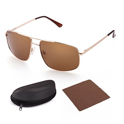 Polarized Rectangular Sunglasses for Men by LotFancy, Gold Metal Frame, Retro Brown Lens, UV - Sunglasses Aviator Mens Square