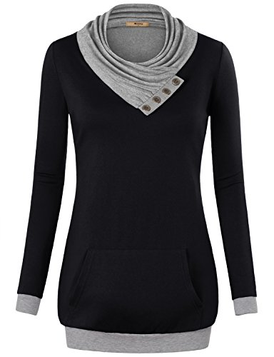 Sweaters Boutique Women - Miusey Boutique Clothing for Women,Ladies Long Sleeve Cowl Neck Sweaters Pullover Sweatshirt with Kangaroos Pocket Black Small
