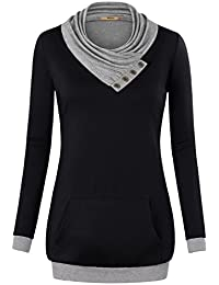 Miusey Women's Cowl Neck Long Sleeve Pullover Sweatshirt...