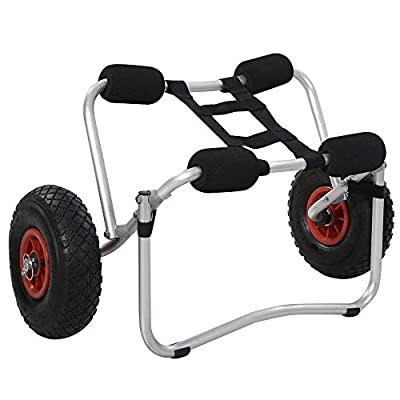 TOMTOP Aluminum Kayak Jon Boat Canoe Gear Dolly Cart Trailer Carrier Trolley Wheels