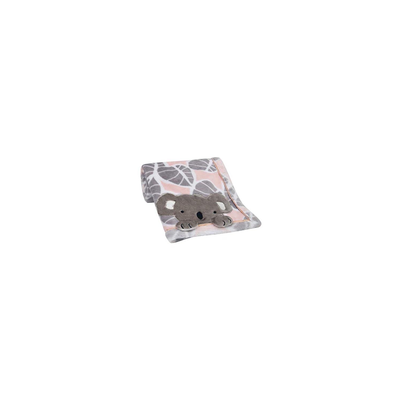 Lambs & Ivy Calypso Pink/Gray Koala Leaf Print Luxury Coral Fleece Baby Blanket