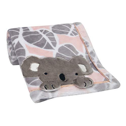 - Lambs & Ivy Calypso Pink/Gray Koala Leaf Print Luxury Coral Fleece Baby Blanket