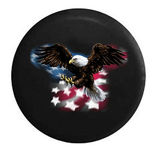 American Bald Eagle Flying Over Flag Spare Tire Cover Black 35 - Display Wildlife American