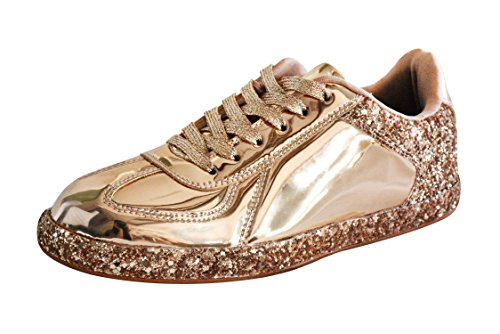 ROXY ROSE Womens Sneaker Flats Metallic Leather Glitter Fashion Sneakers Shoes Lace Up (8 B(M), Rose Gold)