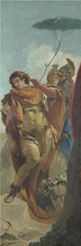 'Giovanni Battista Tiepolo,Rinaldo turning in Shame from the Magic Shield,about 1757' oil painting, 16x48 inch / 41x123 cm ,printed on high quality polyster Canvas ,this High Definition Art Decorative Canvas Prints is perfectly suitalbe for Living Room gallery art and Home gallery art and Gifts