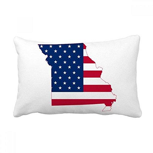 DIYthinker Missouri USA Map Stars And Stripes Flag Shape Throw Lumbar Pillow Insert Cushion Cover Home Sofa Decor Gift