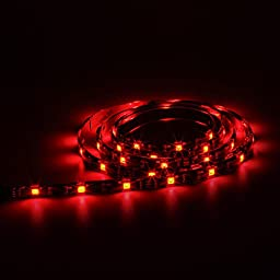 SUPERNIGHT 4 in 1 Multicolor LED Light Strip Kit TV Backlight 1.3Ft RGB Accent LED Tape Light + Remote Control + Power Adapter + Wire Mounting Clips