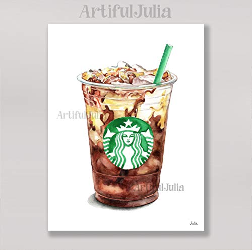 Starbucks ice coffee art print of watercolor painting, (NO FRAME), 5