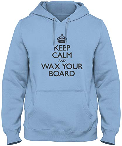 shirtloco Men's Keep Calm and Wax Your Board Hoodie Sweatshirt, Columbia Blue Extra Large
