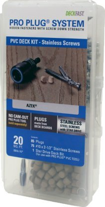 Pro Plug PVC Plugging System for AZEK Slate Gray Decking - Stainless Steel - 75 pcs for 20 Sq. Ft.