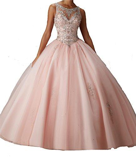 Yang Sweet Girls Boat Neck Jewel Ball Gowns Beads Long Quinceanera Dress 16 US Light (Pink Jewel Neck Rhinestone)