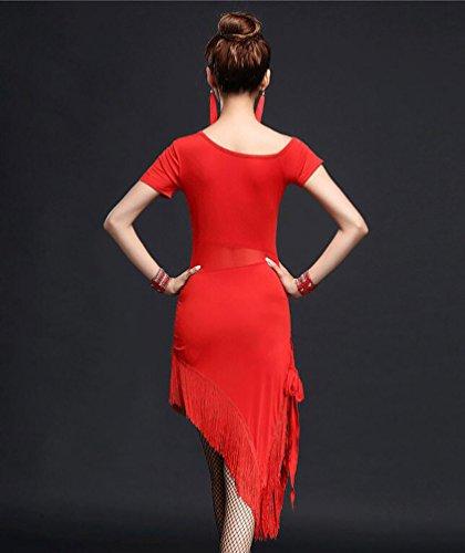 Tango Abito Donne Salsa Gonne Rumba Costumi Rosso Costume Valzer Niseng Latine dnPCWqpgX