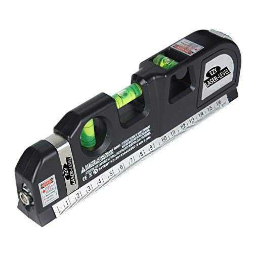 Mini Tool Laser (BoysBiz - EZY The Best Laser Level For Home Use - Straight Line Picture Hanging - Multipurpose Tape Measure With Button - 3 Spirit Levels and Handy Side Ruler - Recommended Pro Lazer Measurement Tool)