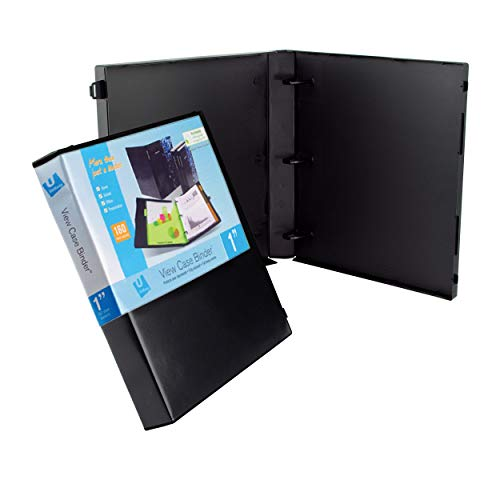 UniKeep 3 Ring Binder - Black - Fully Enclosed Case Binder - 1.0 Inch Spine - Without Clear Outer Overlay - 3 Pack of Binders