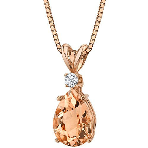 14 Karat Rose Gold Pear Shape 1.75 Carats Morganite Diamond Pendant