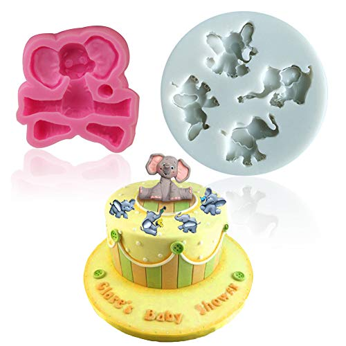 Mity rain Elephant Chocolate mold - 3D Elephant Silicone Cake Fondant Mold for Cupcake Topper Candy Cake Lace Baby Shower Decoration Party Supplies