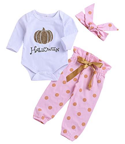 3Pcs Infant Newborn Baby Girls Pumpkin Romper Tops+Pants