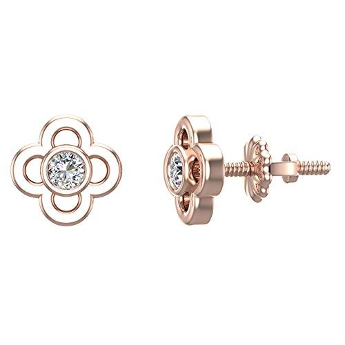 Flower Shaped Diamond Earrings 10K Rose Gold 1/10 ct (Glitz Design)