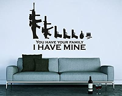 Wall Decal Vinyl Sticker Decals Art Decor Sign The Gun Family Collection Gift Mans Father Hunter Army Weapon Sniper Rifle Bedroom (r1151)