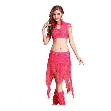 WUDAOFU Danza del Ventre Completi per Donna da esibizione Cotone Pizzo 4  Pezzi Maniche Corte Cadente Giacca Pantaloncini Gonna Calze 31cm c6d421ca8db
