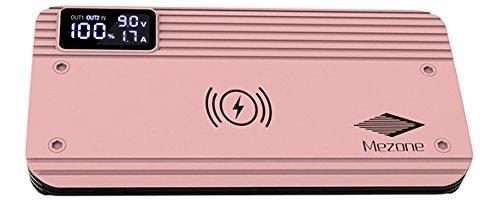 Mezone 10,000mAh Qi Cargador Inalambrico Portable con Pantalla Digital Inteligente para Samsung S7/S6, Nokia Lumia 950 XL/920 LG Optimus Vu2 HTC 8X, 12 Meses de Garantia (ROSA)