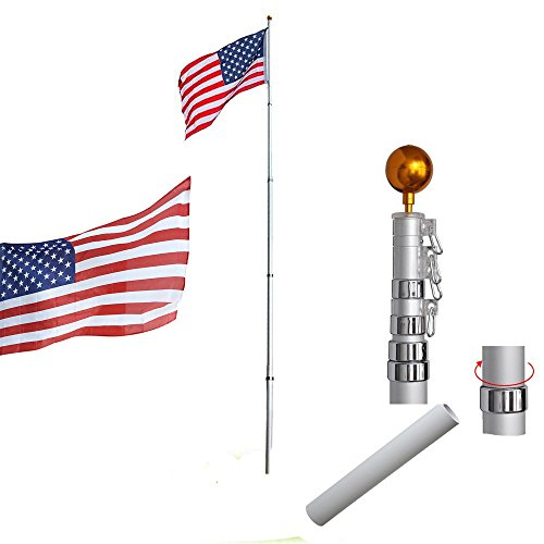 GZYF 25ft Telescopic 16 Gauge Aluminum Flag Pole Free 3'x5' US Flag & Ball Top Kit Telescoping Flagpole Fly 2 Flags Flagpole Outdoor Garden Solid Construction New